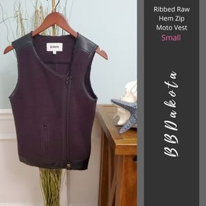 BB Dakota | Ribbed Raw Hem Zip Moto Vest